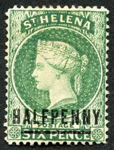 St Helena SG34 1/2d Emerald Green words 17 mm wmk Crown CA un-used (no gum)