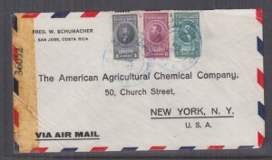 COSTA RICA, 1943 Airmail Censored cover, San Jose to USA, 5c., 45c., 1Co.