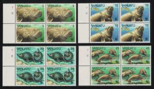 Vanuatu WWF Dugong 4v Blocks of 4 Margins SG#492-495 MI#782-785 SC#470-473