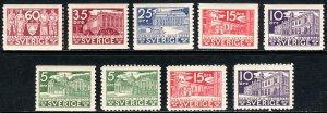 1935 Sweden 500th Anniv of Swedish Parliament set MNH Sc# 239 / 247 CV $125.00