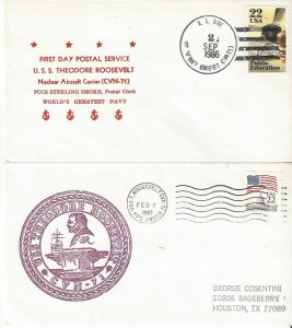 US Naval Cover USS Theodore Roosevelt CVN 71  1986 FDPS, 1987