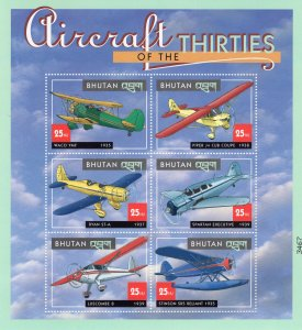 Aircraft of the Thirties, Vtg Airplanes, Pane of 6, Postage Stamps, Piper Cub