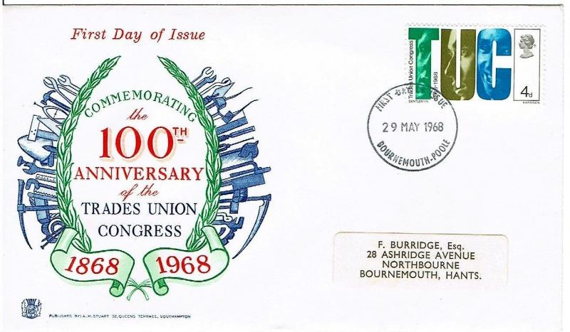 GREAT BRITAIN 1968 - CENTENARY OF TUC FIRST DAY COVER, BOURNMOUTH CANCELLATION