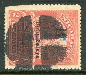 Nicaragua 1907 Bluefields Waterlow 10¢/2¢ Rose Reading Down VFU  C861 ⭐⭐⭐⭐⭐
