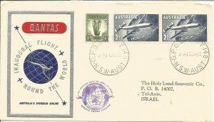 Quantas Inaugural Round World Flight Australia - Israel 14 Jan 1968 Cover Z10339