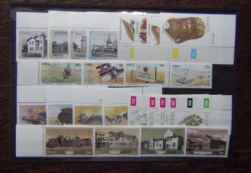 South West Africa 1983-85 Commemorative issues Ostriches Flowers Building German