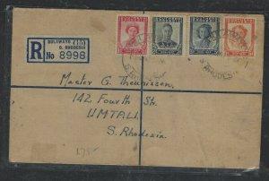 SOUTHERN RHODESIA COVER (P0405B) 1947 KGVI 4D RLE+PEACE SET BULAWAYO TO UMTALI