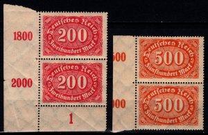 Germany 1922 Weimar Republic Definitives, Marginal / Corner Pairs [Mint]