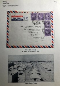 1952 Egypt British Army Field Post Airmail Cover To Toronto Canada