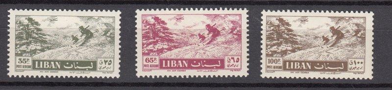 J26858  1957 lebanon mh hv,s of set  #c233-5 sports snow skiing