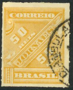 BRAZIL 1889 50r Brown Yellow NEWSPAPER STAMP Sc P12 VFU