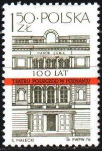 Poland. 1976. 2459. Polish Theater in Poznan. MNH.