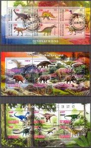 {g157} Congo Djibouti Ivory Coast 2013 Dinosaurs 3 sh. Used / CTO Cinderella