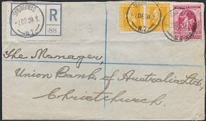 NEW ZEALAND 1920 Registered cover ex SPRINGFIELD - 1d Victory + GV 2d(2)....B674