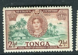 TONGA; 1951 early QEII issue fine Mint hinged 2.5d. value