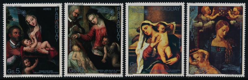 Paraguay C701-4 MNH Christmas, Art, Paintings, Madonna