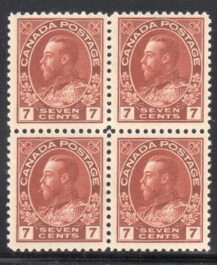 CANADA #114v MINT VF NH BLOCK OF 4 C$1120.00 - Admiral WET Printing