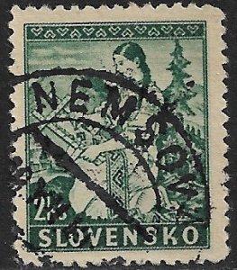 SLOVAKIA 1939-44 2k Girl Embroidering Pictorial Sc 40 VFU