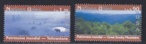 United Nations - Geneva # 415-416, World Heritage Sites - U.S. NH, 1/2 Cat.