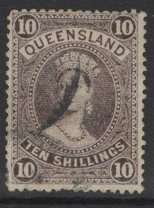 QUEENSLAND SG311a 1911 10/= SEPIA USED