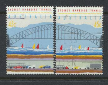 Australia SG 1375b and 1376b  Used  perf 15½ - Harbour Tunnel