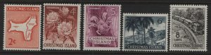 CHRISTMAS ISLAND, 11-15 (5) SET, 1963, Map of Islands, island scene