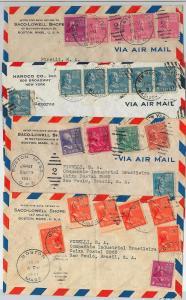 58697  - USA - POSTAL HISTORY: SET o 4 cover to SOUTH AMERICA same rate 1941