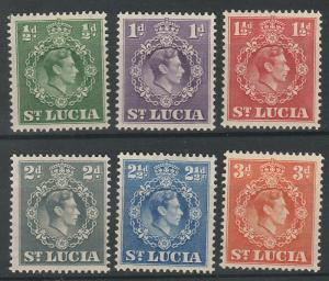 ST LUCIA 1938 KGVI RANGE TO 3D PERF 14.5 X 14