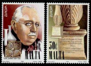 Malta 829-30 MNH EUROPA, Themistocles Zammit, Microbiology, Art, Sculpture