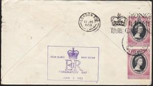 SINGAPORE USED IN COCOS 1953 Qantas flight cover to London.................68810