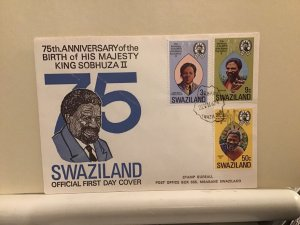 Swaziland FDC 1974 birth of King Sobhuza 2nd multi stamp cover R25697