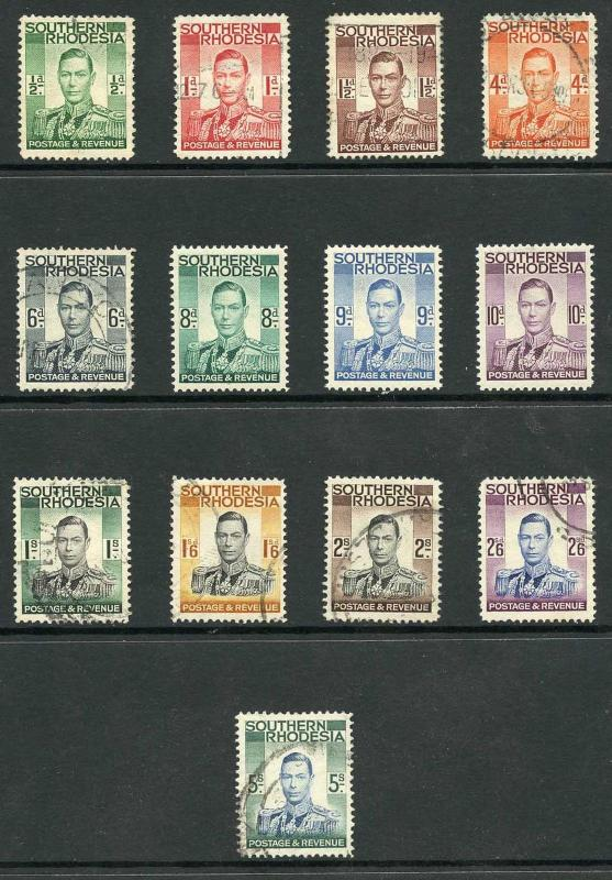 Southern Rhodesia SG40/52 1937 KGVI Set of 13 Perf 14 Fine Used