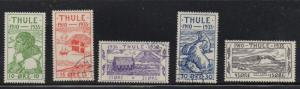 Greenland Thule 1935  local stamp set used Facit T1-5
