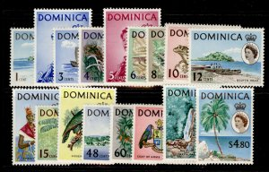 DOMINICA QEII SG162-178, complete set, LH MINT. Cat £50.