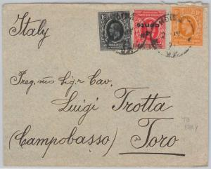 51884 - KUT East Africa -  POSTAL HISTORY - COVER from HOIMA to CAMPOBASSO 1921