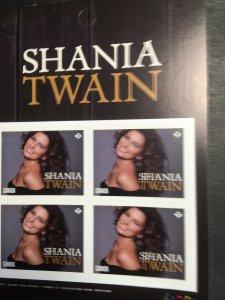 CANADA - Shania Twain #2768 Mint Shania Twain Imprint Pane of Four Self-Adh.2014