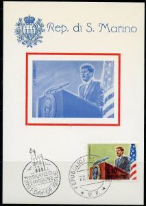 SAN MARINO 1964  JOHN F. KENNEDY MEMORIAL SET ON TWO MAXIMUM CARDS SET I