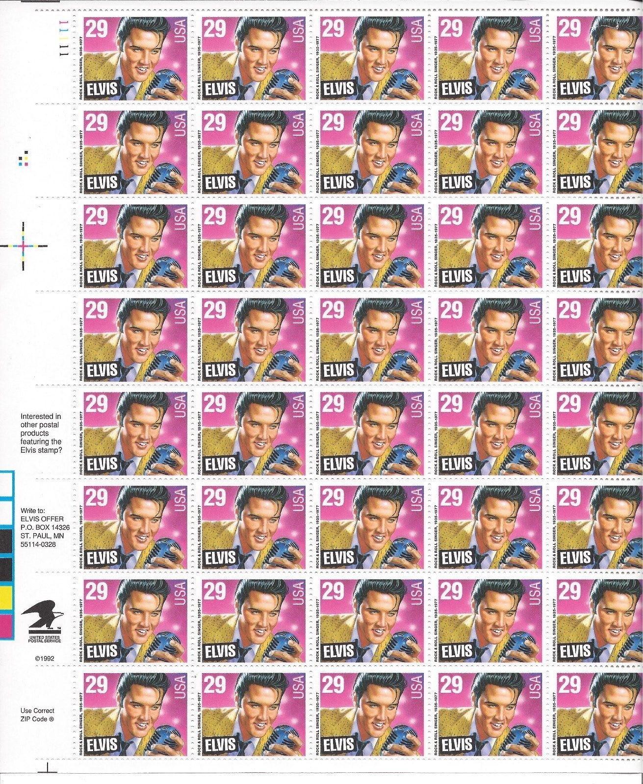 2721 Full Sheet 29 Cent Elvis Presley Rock And Roll Star King HipStamp
