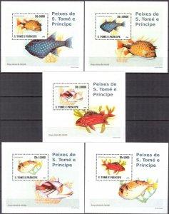 {053} Sao Tome & Principe 2008 Fishes 5 S/S Deluxe MNH**