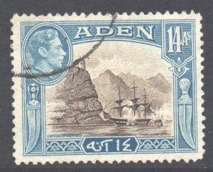 Aden Scott 23a - SG23a, 1939 George VI 14a used