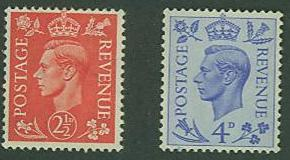 Great Britain SC# 284-5 King George VI Type of 1937 MH