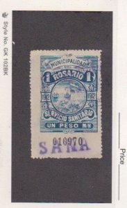 Rosario Argentina 1912 1P Blue Hooker Prostitute Tax Stamp Used Sana Canc