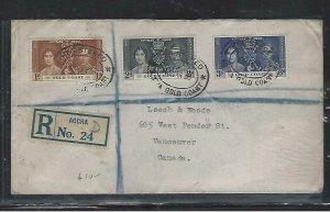 GOLD COAST (P2708B)  1938  KGVI CORONATION SET REG ACCRA TO CANADA