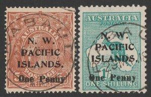 NEW GUINEA - NWPI 1918 'One Penny' set KGV 5d & Kangaroo 1/-, type c.
