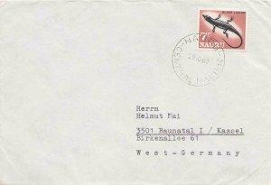 Nauru 7c Black Lizard 1967 Nauru, Central Pacific to Kassel, Germany.  EUROPE...