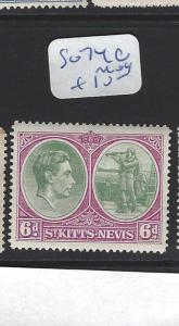 ST KITTS NEVIS  (PP2806B)  KGVI  6 D  SG 74C     MOG