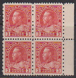 Canada - 3c Admiral Block of four #184 mint
