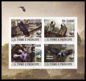 Sao Tome Birds WWF Grey Parrot 4 imperforated stamps in block 2*2