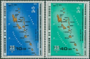 New Hebrides French 1979 SGF283-F284 Self-Government ovpt set MNH