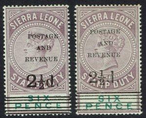 SIERRA LEONE 1897 QV 21/2D ON 6D */** 2 OVERPRINT TYPES